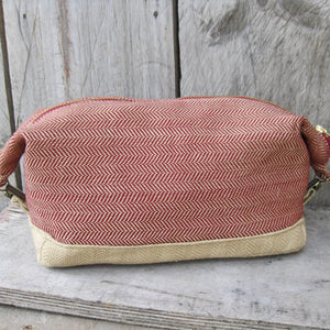 Toiletry Bag | Maroon & Khaki Herringbone