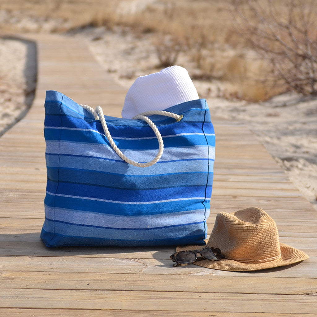 stormy Blues beach tote