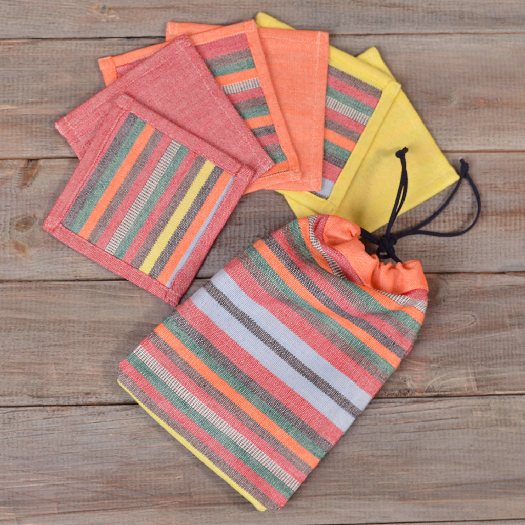 Coasters | Citrus Stripes and Solids with Optional Gift Bag