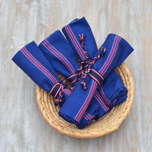Handwoven Napkin Ties | Red, White & Blue Stripes