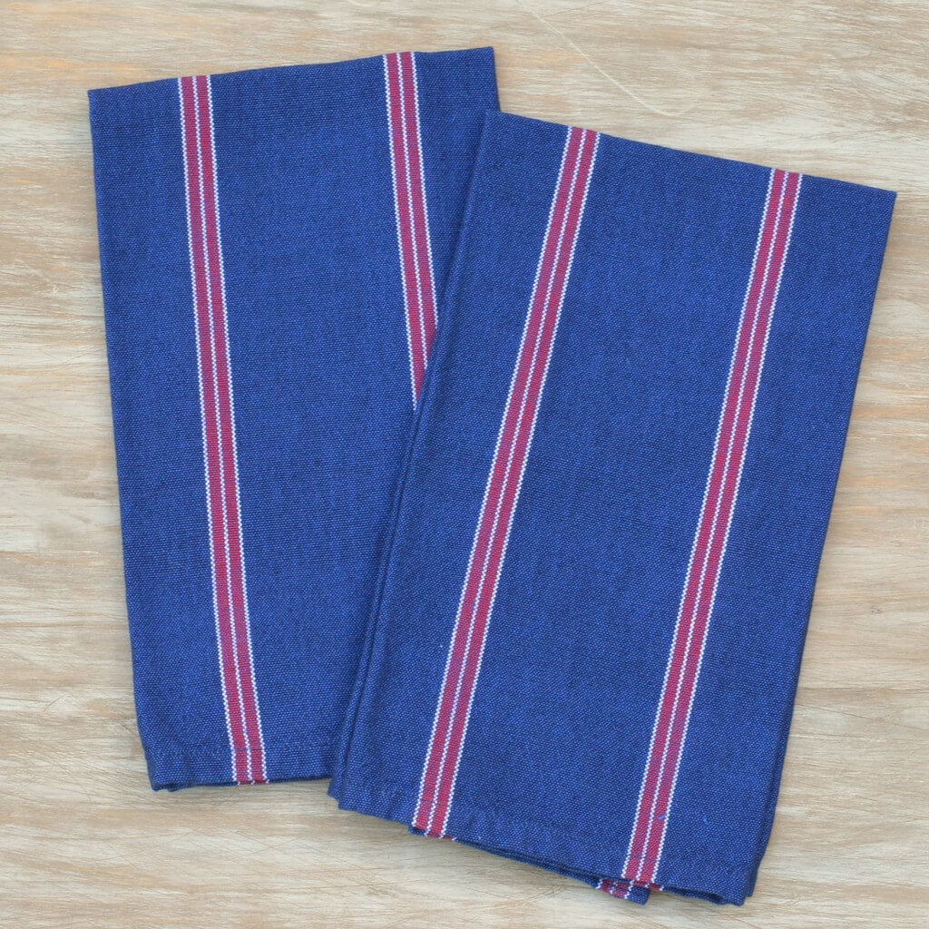Red, White & Blues Striped Kitchen Towels