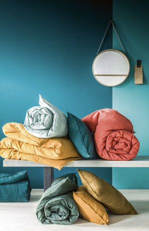 14 colors available Harmony - end of bed Viti washed linen eiderdown - 85x200 cm - Home Beddings and Curtains