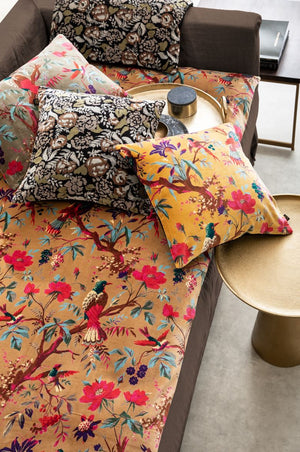 3 colors available - Harmony - Birdy Velvet End of Bed Quilt Cover - 85x200 cm