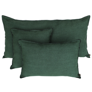 Harmony - Giant Mansa Washed Linen Cushion Cover Larch Green - 55x110 cm