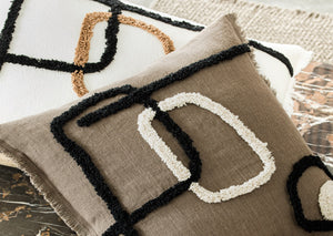 2 colors available - Harmony - Tikri linen cushion cover - 45x45 or 40x60 cm