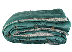 En-fil-dindienne - Dessus de lit velours Tosca - Bleu-Canard - 230x250 cm - Home Beddings and Curtains