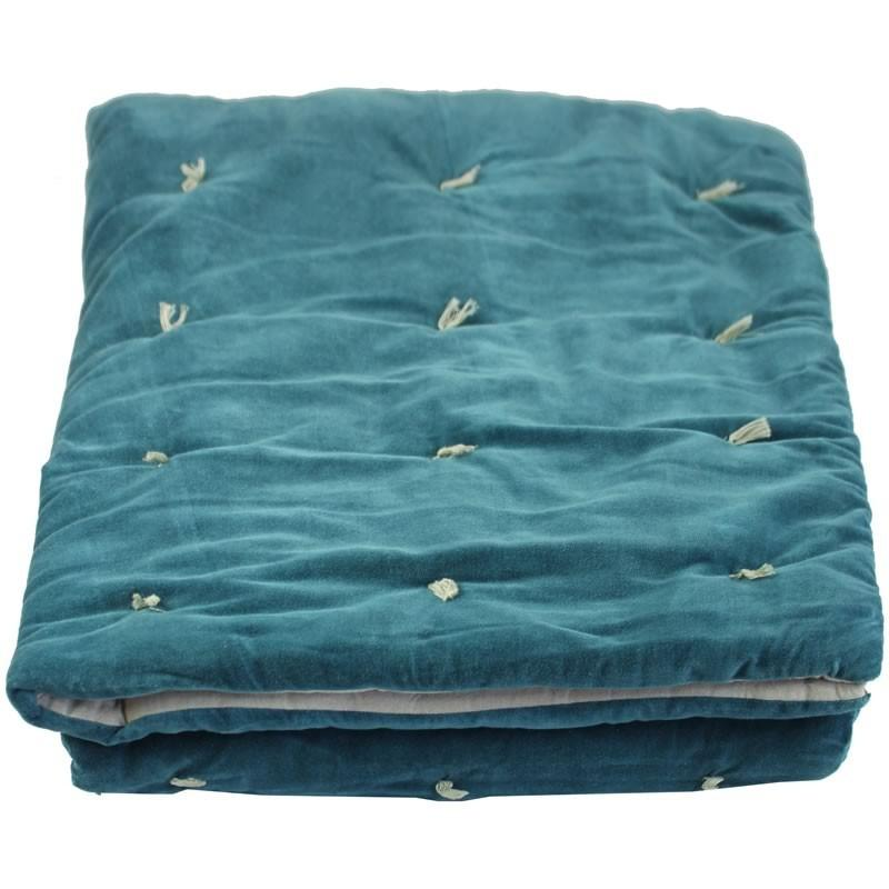 En-fil-dindienne - Edredon bout de lit velours Vague - Bleu-Canard - 90x200 cm - Home Beddings and Curtains