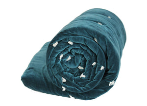 En-fil-dindienne - Edredon bout de lit velours Vague - Bleu-Paon - 90x200 cm - Home Beddings and Curtains
