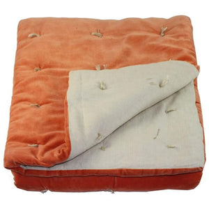En-fil-dindienne - Edredon bout de lit velours Vague - Orange - 90x200 cm - Home Beddings and Curtains