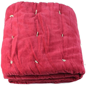 En-fil-dindienne - Edredon bout de lit velours Vague - Rose-Framboise - 90x200 cm - Home Beddings and Curtains