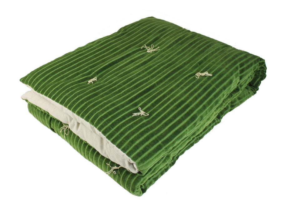 En-fil-dindienne - Plaid jeté lit courtepointe en velours rayé Veluti - Vert - 160x160 cm - Home Beddings and Curtains