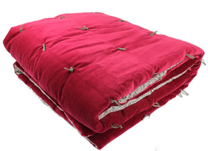En-fil-dindienne - Plaid velours jete lit Tosca - Rose-Framboise - 160x160 cm - Home Beddings and Curtains