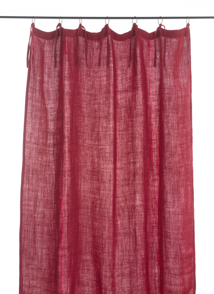 En-fil-dindienne - Rideaux en lin frangé - Framboise - 150x300 cm - Home Beddings and Curtains