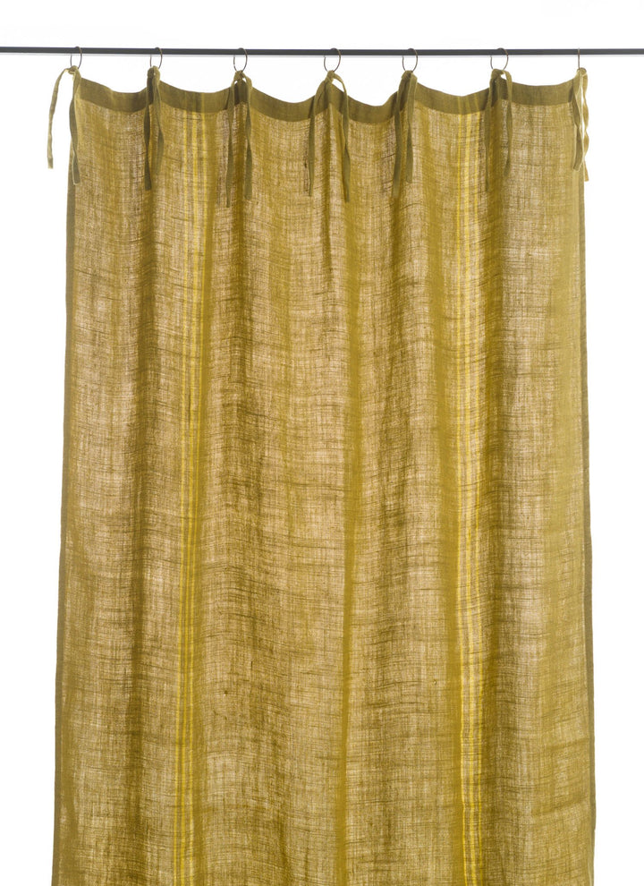 En-fil-dindienne - Rideaux en lin frangé - Jaune - 150x300 cm - Home Beddings and Curtains