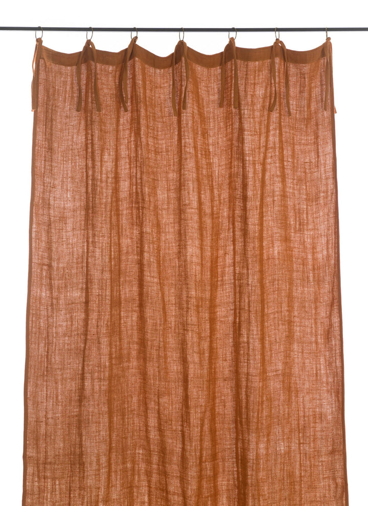 En-fil-dindienne - Rideaux en lin frangé - Orange - 150x300 cm - Home Beddings and Curtains