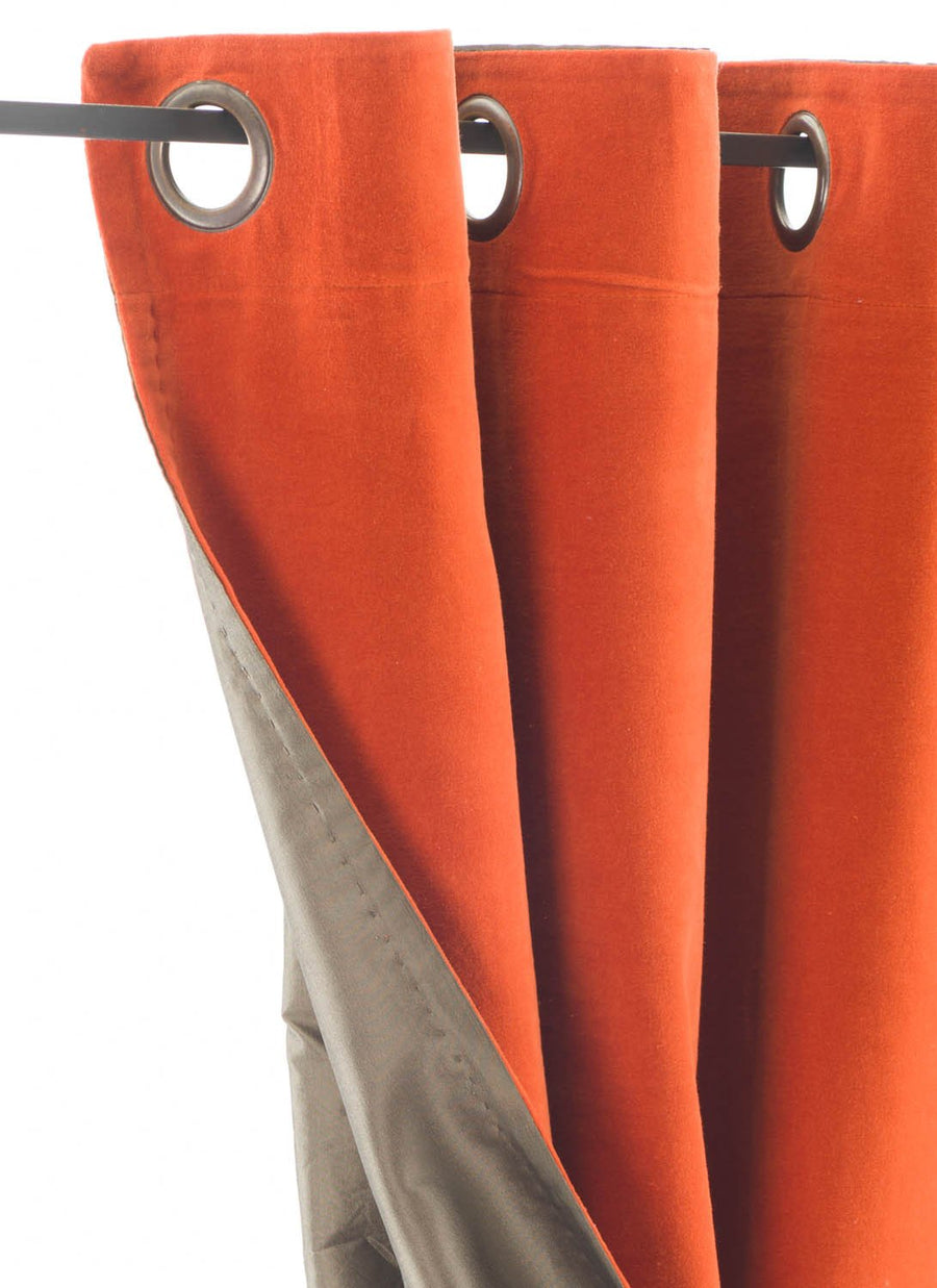 En-fil-dindienne - Rideaux en velours Lyric - Orange - 140x280 cm - Home Beddings and Curtains