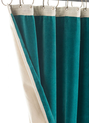 En-fil-dindienne - Rideaux en velours Medicis - Bleu-Canard - 130x280 cm - Home Beddings and Curtains