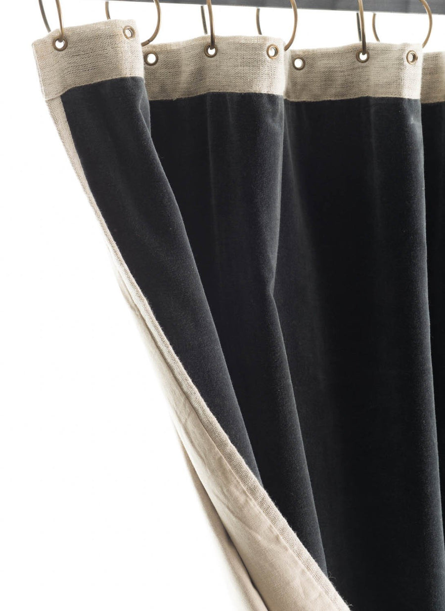 En-fil-dindienne - Rideaux en velours Medicis - Gris-Anthracite - 130x280 cm - Home Beddings and Curtains