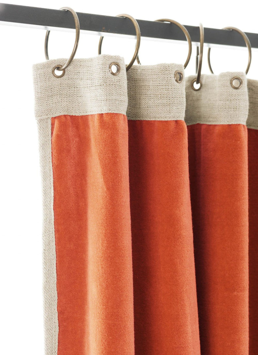 En-fil-dindienne - Rideaux en velours Medicis - Orange - 130x280 cm - Home Beddings and Curtains