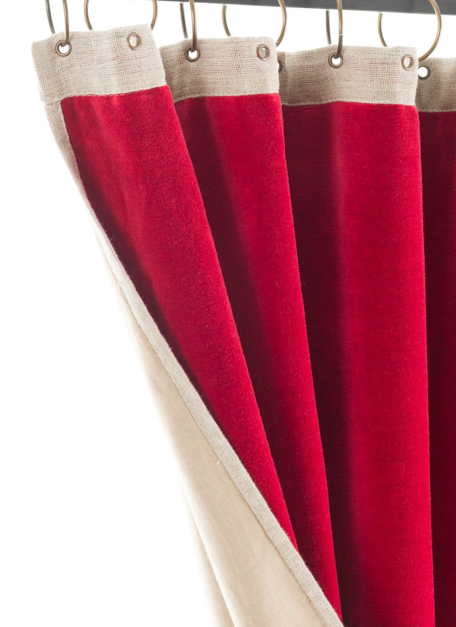 En-fil-dindienne - Rideaux en velours Medicis - Rouge-Chilli - 130x280 cm - Home Beddings and Curtains