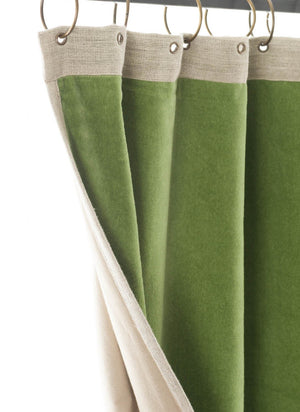 En-fil-dindienne - Rideaux en velours Medicis - Vert-Cactus - 130x280 cm - Home Beddings and Curtains