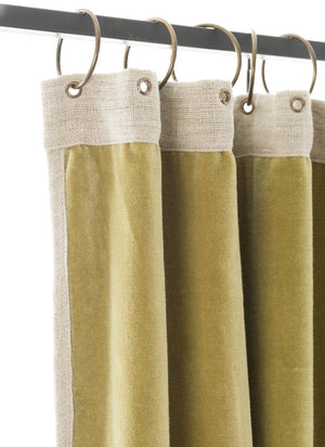En-fil-dindienne - Rideaux en velours Medicis -Vert-Mousse - 130x280 cm - Home Beddings and Curtains
