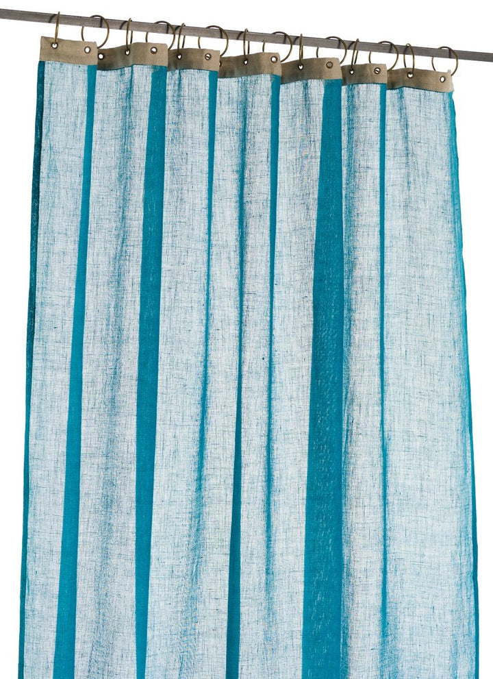 En-fil-dindienne - Rideaux en voile de lin Brise - Bleu Canard - 130x280 cm - Home Beddings and Curtains