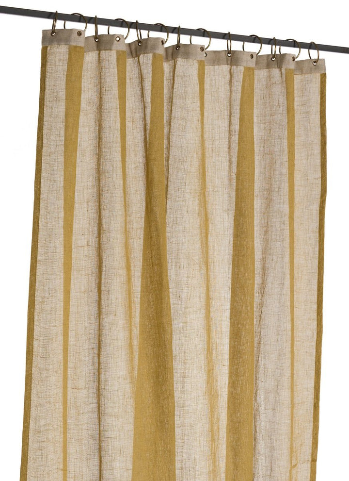 En-fil-dindienne - Rideaux en voile de lin Brise - Jaune Gold - 130x280 cm - Home Beddings and Curtains
