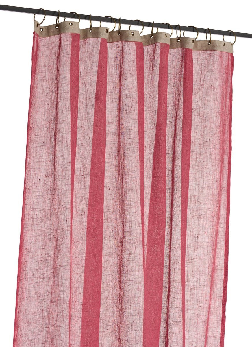 En-fil-dindienne - Rideaux en voile de lin Brise - Rose Framboise - 130x280 cm - Home Beddings and Curtains