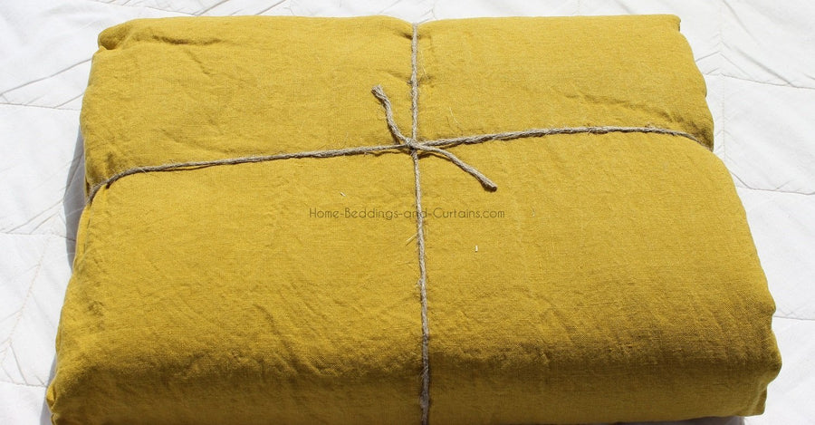 Harmony - Drap plat en lin lavé Viti - jaune Absynthe - 270x290 cm - Home Beddings and Curtains