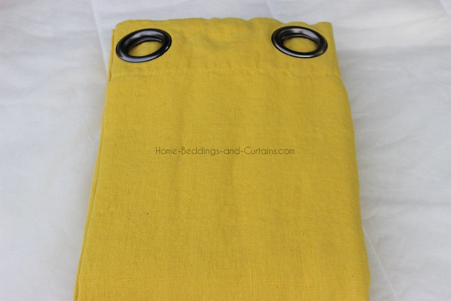 Harmony - Rideaux en lin lavé Propriano jaune Curry - 140x280 cm - Home Beddings and Curtains