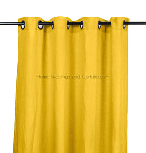 Harmony - Rideaux en lin lavé Viti - Jaune Absynthe - 140x280 cm - Home Beddings and Curtains