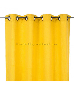 Harmony - Rideaux en lin lavé Viti jaune Curry - 140x280 cm - Home Beddings and Curtains