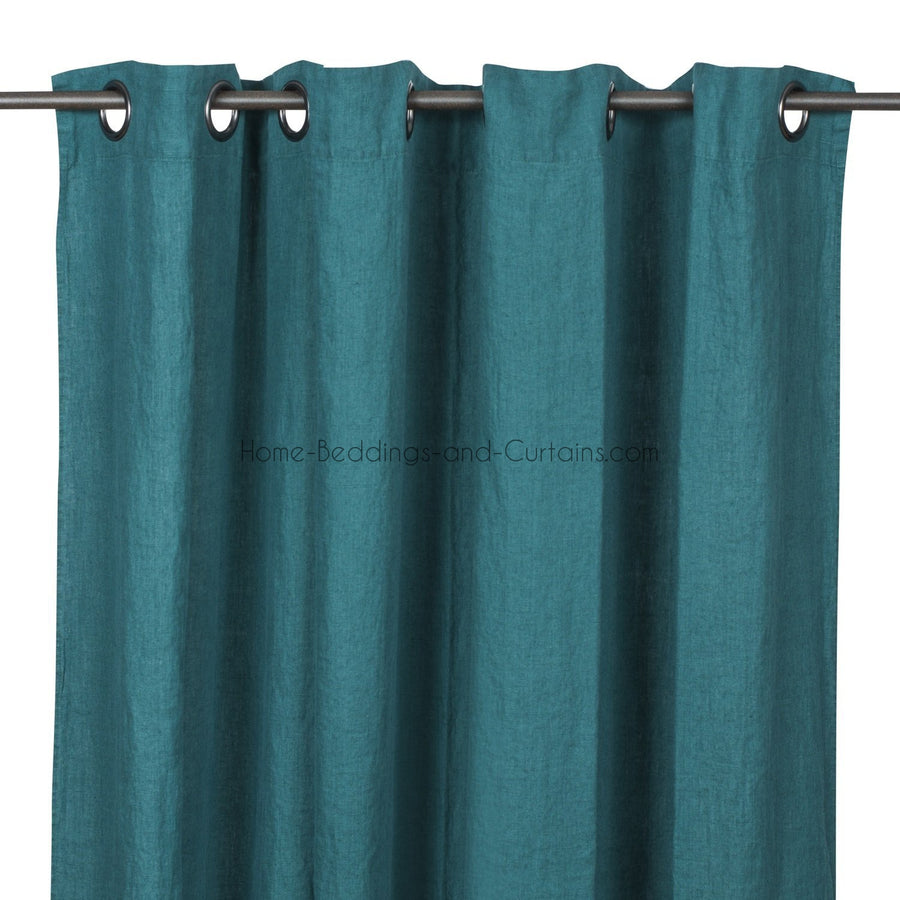 Harmony - Rideaux en lin lavé Viti - Paon - 140x280 cm - Home Beddings and Curtains
