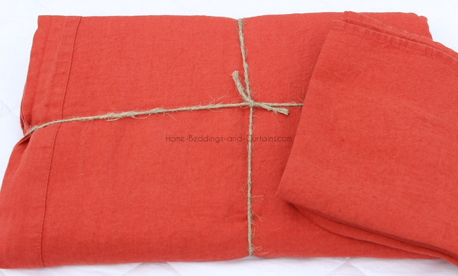 Harmony - Serviette en lin lavé carrée Nais rouge-orange-tomette - 100% Lin - 41x41 cm - Home Beddings and Curtains