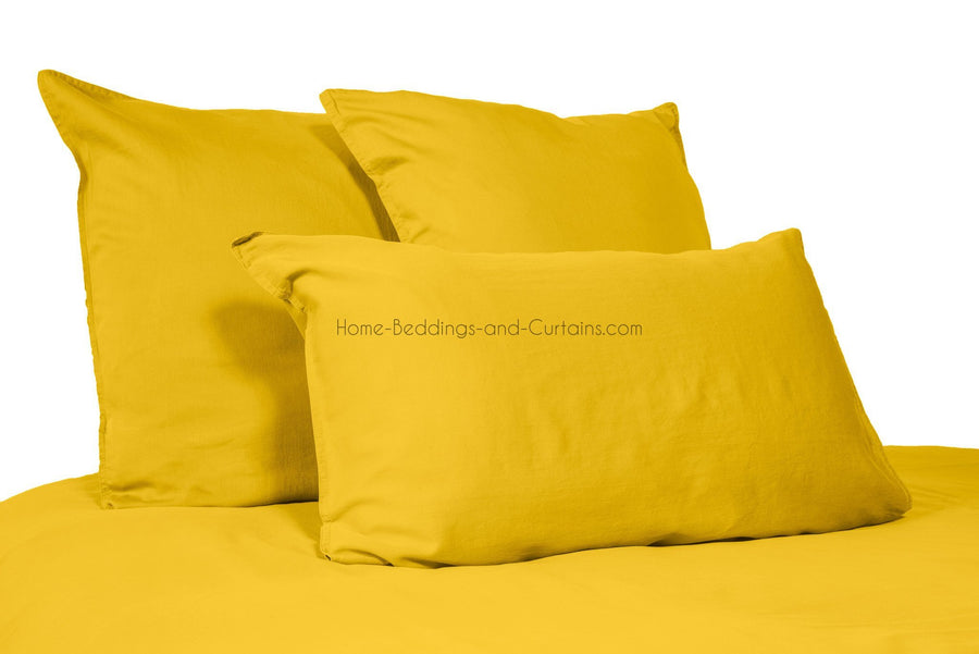 Harmony - Taie oreiller en lin lavé Viti Jaune Absynthe ou traversin - Home Beddings and Curtains