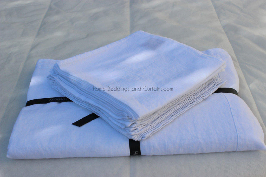 Harmony - Nappe en lin lavé Nais blanc - Home Beddings and Curtains