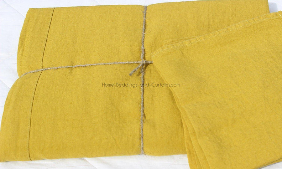 Harmony - Nappe en lin lavé Nais - Jaune Absynthe - Home Beddings and Curtains