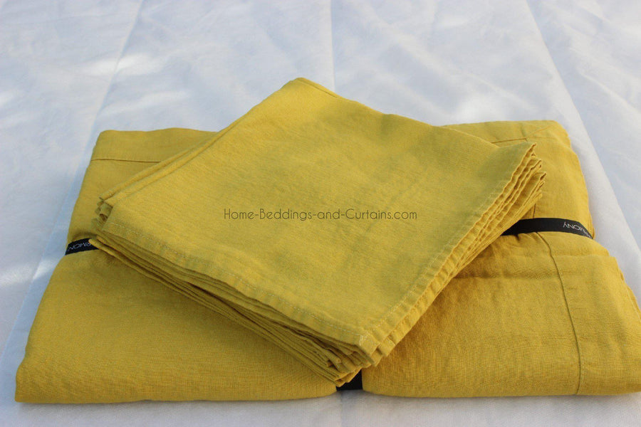 Harmony - Nappe en lin lavé Nais jaune curry - Home Beddings and Curtains