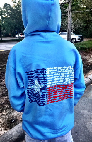 Fish Flag Hoodie - Light Blue