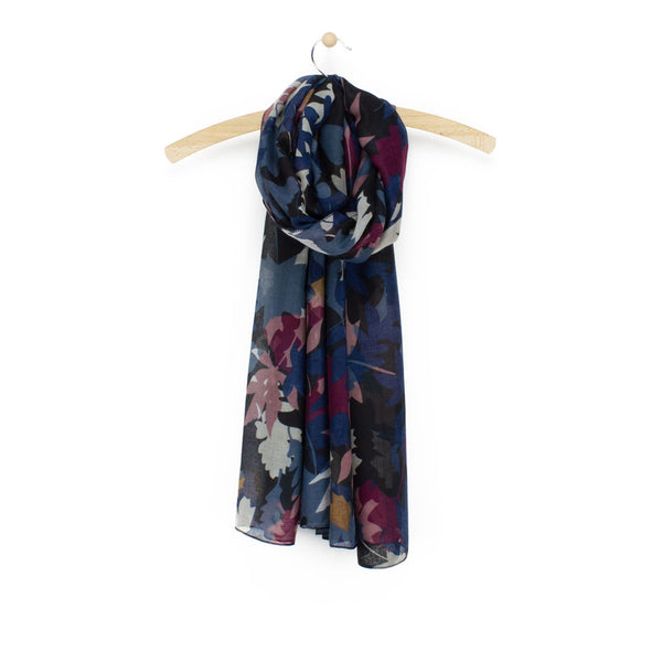 Autumn Leaf Print Scarf, Blue Mix
