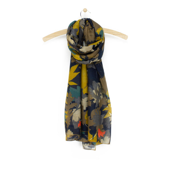 Autumn Leaf Print Scarf, Mustard Mix