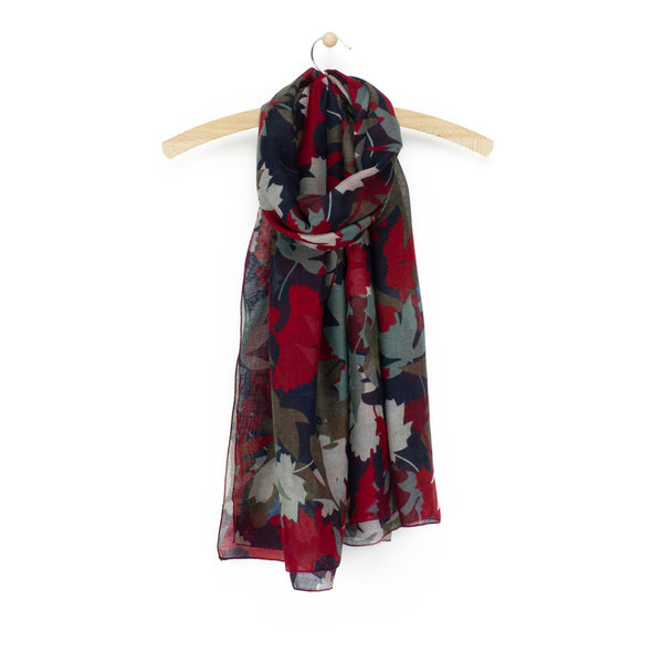 Autumn Leaf Print Scarf, Red Mix