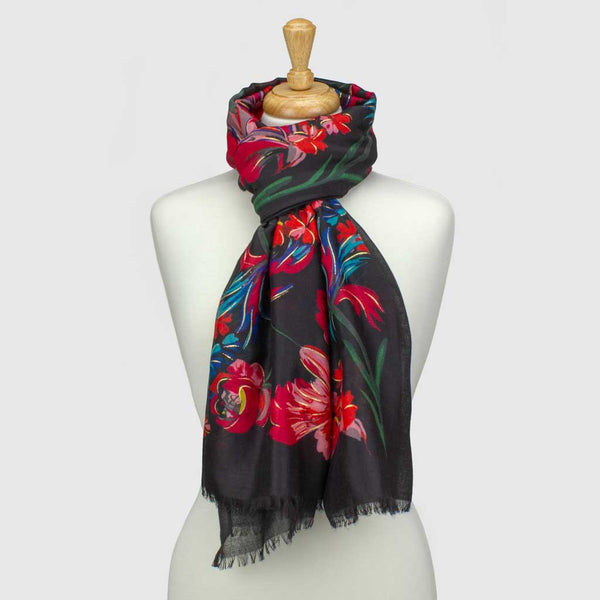 Black Winter Floral Metallic Scarf