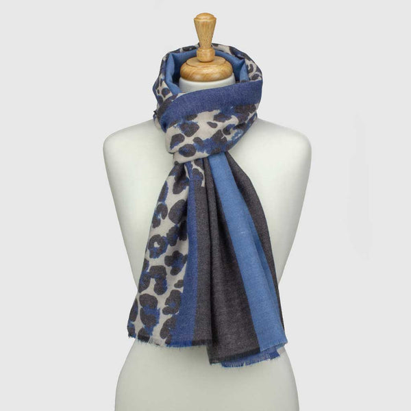 Blue Colour Block Leopard Print Scarf