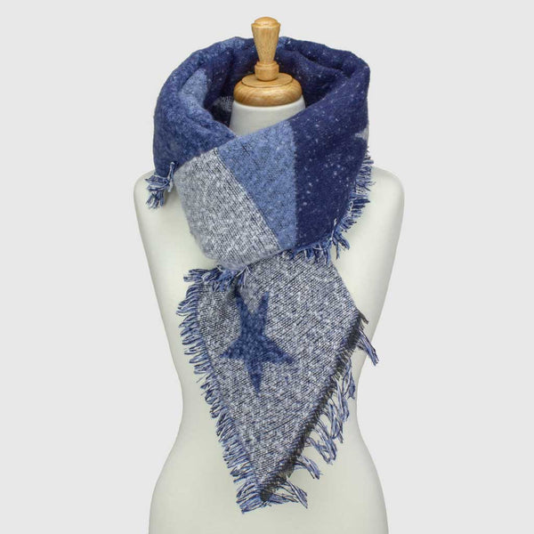 Blue Star Asymmetric Blanket Scarf