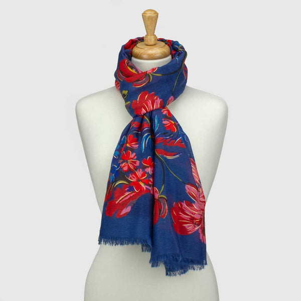Blue Winter Floral Metallic Scarf