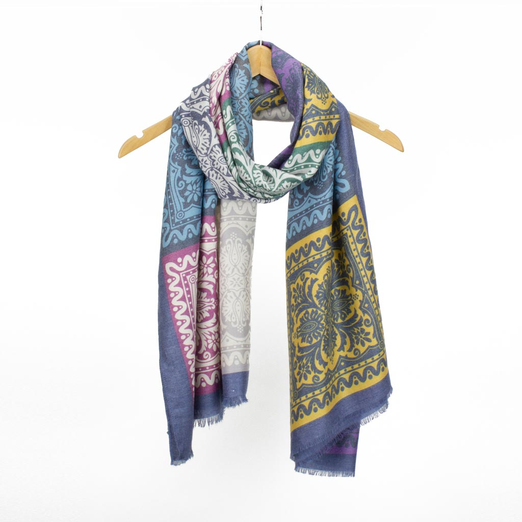 Boho Print Scarf, Blue Mix