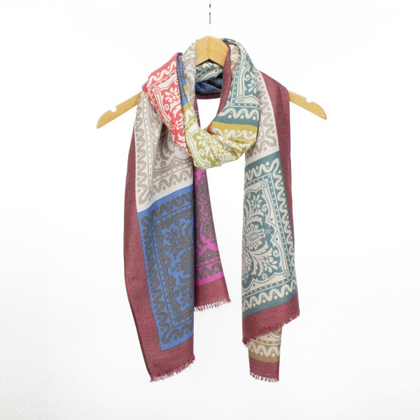 Boho Print Scarf, Red Mix