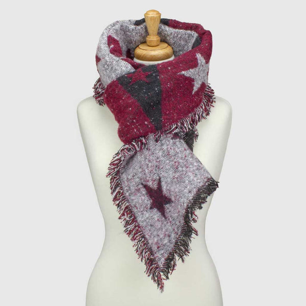 Burgundy Star Asymmetric Blanket Scarf